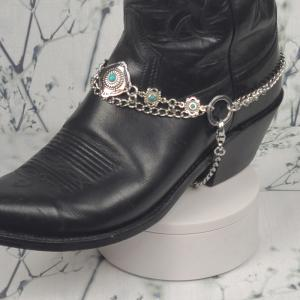 Turquoise and Silver Boot Bracelet