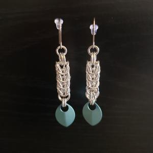 Turquoise chainmail earrings