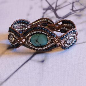 Turquoise Stone and Leather Bracelet