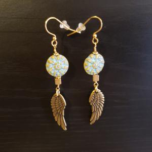 Turquoise with Gold Angel Wings Earrings